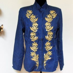 Susan Graver Denim Jacket with Gold Embroidery